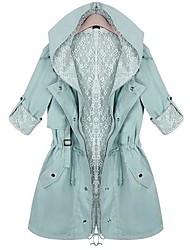 Hanyiou® Women's Hooded Elastic Waist Loose Coat
