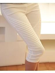 Беременные женщины Мода Сложите Дизайн Тонкий капри Краткая Материнство брюшной живота Плюс Размер поножи белый и черный