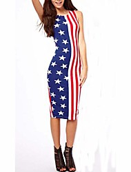 Women's Round USA Flag Star Stripe Print Midi Slim Dress
