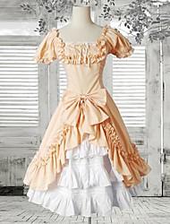 Naranja manga corta de volantes de algodón dulce lolita vestido