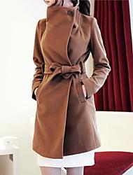 richcoco женские стоять длинное пальто с поясом