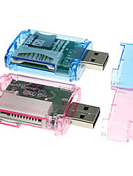 4-en-1 USB 2.0 Lecteur de cartes MS/M2/SD/MicroSD carte (couleurs assorties)