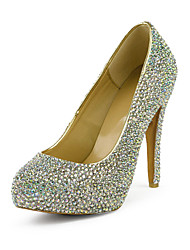 Fashion Leather Stiletto Heel Round Toe With Colorful Rhinestone Pumps Party / Evening Shoes