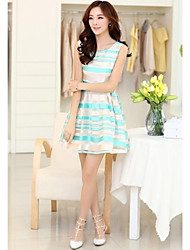 Women`s New Summer Striped Dress