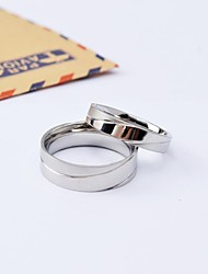 Fashion Silver High Polished Titanium Steel Couple Rings