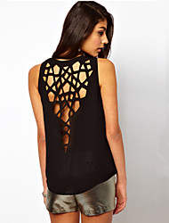 BLK  Sexy Back Hollow Hole Halter Tank Top T-Shirts 8321