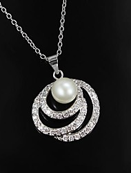 India Style Brass Silver Plated With Imitation Pearl Women's Necklace