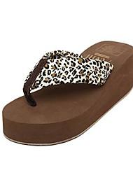 Donna Tessuto Platform Heel Shoes flip flop pantofole (più colori)