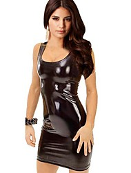 Women's Strap Synthetic Leather Mini Dress