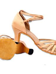 Couro Calçados Femininos Mostrar Arch Strap Chunky salto dança latina sapatos de salto 6cm (tela colorida)