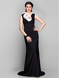 TS Couture Formal Evening Dress - Elegant Sheath / Column Jewel Sweep / Brush Train Stretch Satin with Ruffles