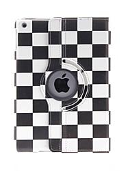 Motif cuir PU corps entier Kinston rotative de 360 degrés en noir et blanc de places avec support pour iPad Air