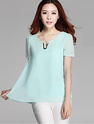 Women's Sexy / Cute Spring / Summer Blouse,Solid Short Sleeve Blue / Pink / Black Thin