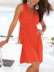 Sexy Fashion V profundo nua Voltar Vestido de womwn