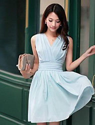 Women's V-Neck Pure Color Collect Waist Sleeveless Dress