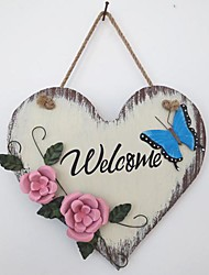 Wooden Coloured Drawing Or Pattern, Wrought Iron The Welcome Card in The Shape Of Love