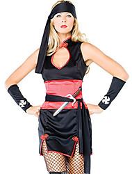 Ninja Master Negro y disfraces de Halloween de las mujeres de poliéster rojas