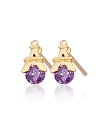 Women's Fashion Tower Design Plated 18K Gold Zircon Earrings
