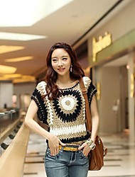 Women's Jacquard Multi-color Blouse , Round Neck Sleeveless Hollow Out