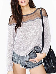 Women's Patchwork Gray T-shirt , Round Neck Long Sleeve Lace/Mesh