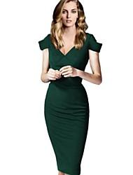 v vestido profundo de la vendimia de las mujeres, algodón / géneros de punto / poliéster bodycon verde / sexy