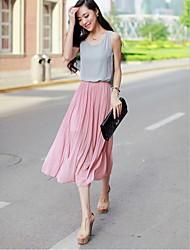 Michaela Korean Chiffon Beach Dress(Navy Blue,Pink)-1178