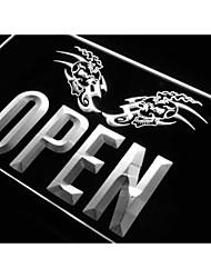OPEN Tattoo Skull Shop Art Bar Neon Light Sign