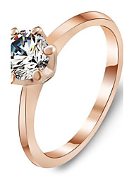 Fashion Rose Gold Plated Ring White Cubic Zirconia Rings Jewelry Accessories for Women
