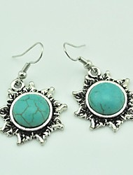 Vintage Antique Silver Sun Dangle Turquoise Earring(Green)(1Pair)