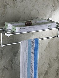 Chrome Finish Solid Brass  Bathroom Shelf With Towel Bar