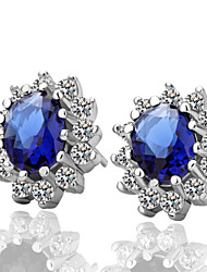 Stud Earrings Sapphire Brass Gemstone Cubic Zirconia Silver Plated Platinum Plated Blue Jewelry 2pcs