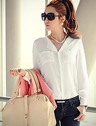 Colore V Solid Luna Women domenica scollo chiffon lungo T-shirt bianca