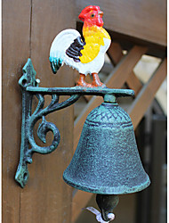 Continental Iron Retro Style Bronze Painted Rooster Type Door Bell