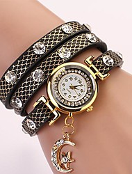 C&D Fashion Women Dress Watches Moon Pendant Leather Strap Watches XK-83