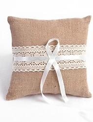 Elegant Linen White Lace Wedding Ring Pillow
