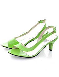 ELF Women's Elegant Low Heel Green PU Leather Shoes CHD-66