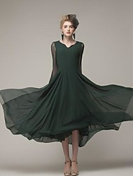 TS Deep V Mesh/Pleated Dress , Chiffon Midi Long Sleeve