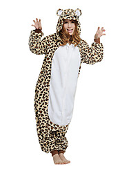 Kigurumi Pajamas Bear Raccoon Leotard/Onesie Festival/Holiday Animal Sleepwear Halloween Brown Patchwork Polar Fleece Kigurumi For Unisex