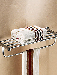 "Stainless Steel 24"" Bathroom Shelf with Arc-shaped Towel Bar"