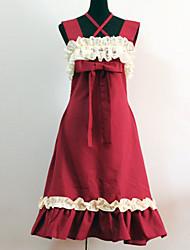 Un Pezzo/Vestiti Lolita Classica e Tradizionale Da principessa Cosplay Vestiti Lolita Rosso Collage Senza maniche Lunghezza media Abito