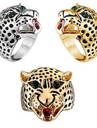 Ms Domineering Fashion Temperament Leopard Print Head Zircon Ring