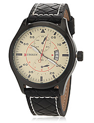 Men's Dress Watch Japanese Quartz Calendar Leather Band Black Brand
