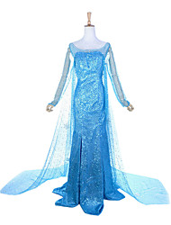 Fantasias de Cosplay Princesa / Conto de Fadas Cosplay de Filmes Azul Patchwork Vestido Dia Das Bruxas / Natal / Ano Novo Feminino