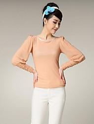 Yiman ® Женская круглым воротом кальян рукавом Slim Fit рубашки