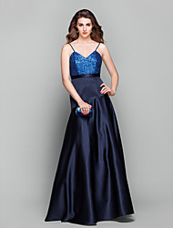 A-Line V-neck Floor Length Satin Sequined Prom Formal Evening Military Ball Dress with Sash / Ribbon Sequins by TS Couture®