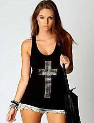 T-shirt das mulheres de algodão Cruz Moda Rivet