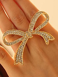 Exaggerated Fully Diamante Bowknot Ring (More Colors)