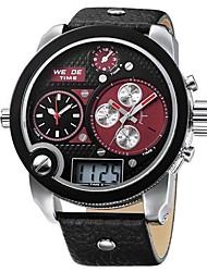 Masculino Relógio Militar Quartzo Quartzo Japonês LCD Calendário Cronógrafo Impermeável Três Fusos Horários alarme Banda Preta marca