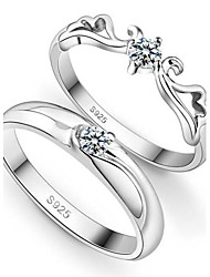 PROMIS mujer un anillo de plata de ley 925 feliz pareja de moda anillos ™ preciosa q-para parejas