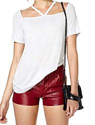 Damen Solide Sexy Lässig/Alltäglich T-shirt,Asymmetrisch Sommer Kurzarm Weiß Baumwolle